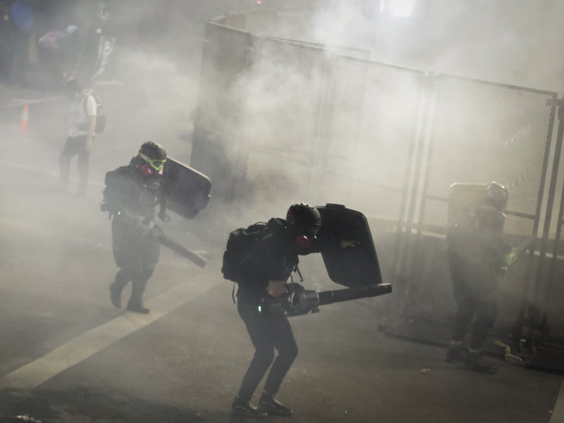 Tear gas was fired again during an overnight protest in Portland